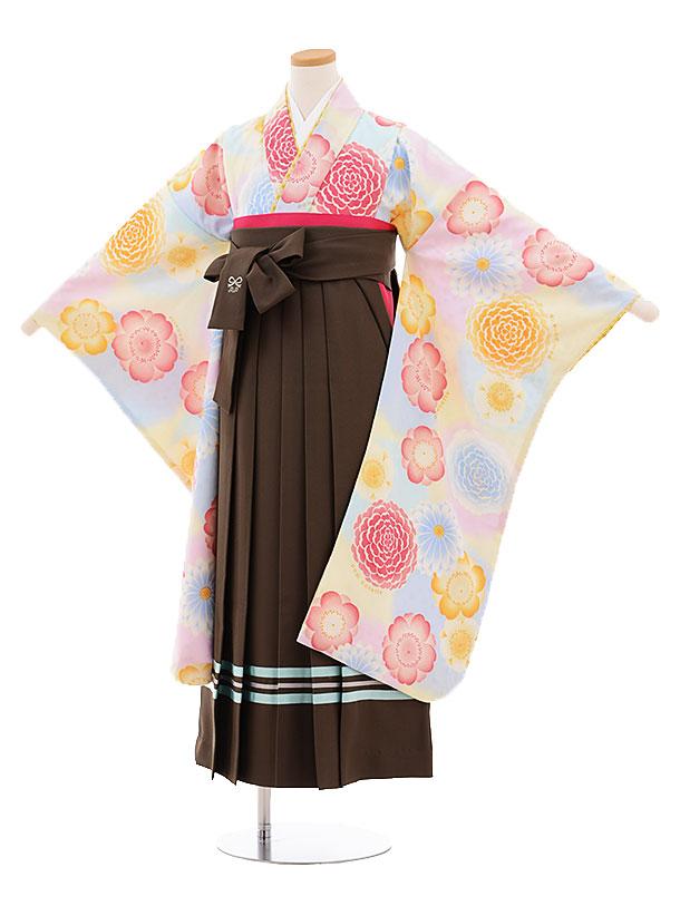 小学生卒業式袴9482ポンポネットクリーム地花×カーキ袴