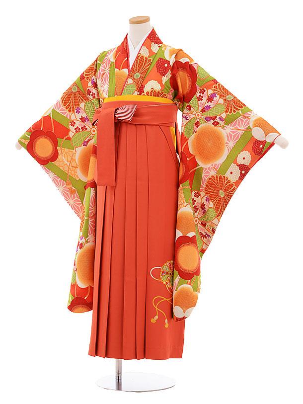 小学生卒業式袴レンタル9484九重オレンジ古典×オレンジ袴