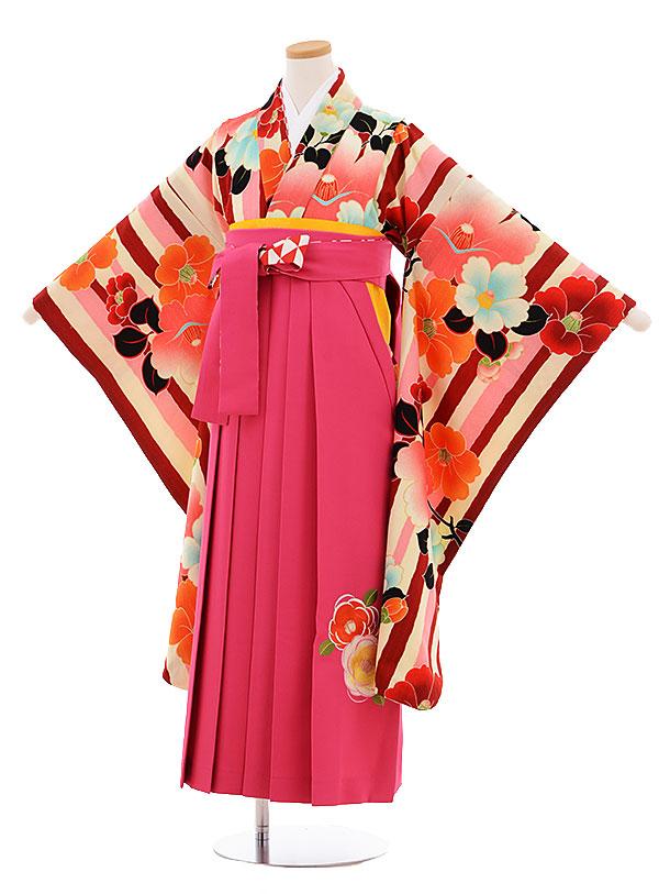 小学生卒業式袴レンタル9487紅一点ピンクストライプ椿×ピンク袴