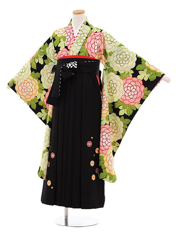 小学生卒業式袴レンタル9490紅一点黒地花×黒袴