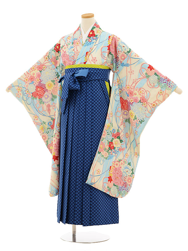 小学生卒業式袴9503ポンポネット水色花×ブルーチェック袴