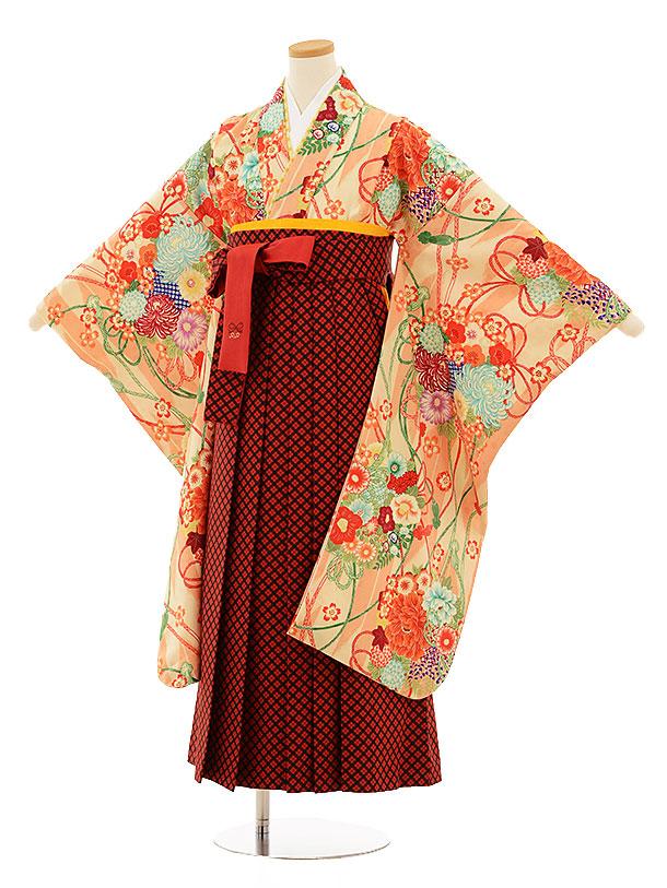 小学生卒業式袴9504ポンポネットオレンジ花赤×チェック袴