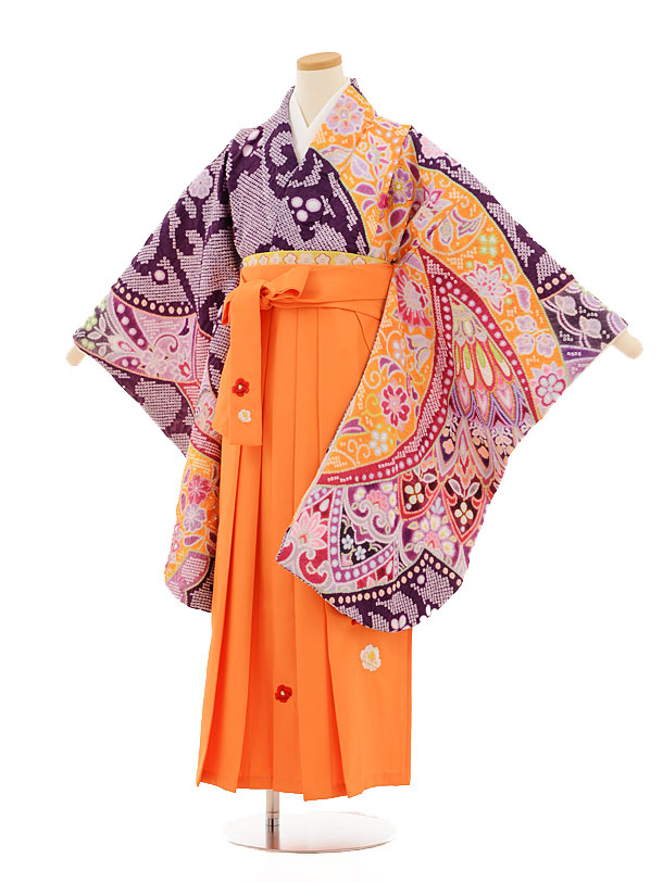 小学生卒業式袴レンタル(女の子)9505 紫絞り×オレンジ袴