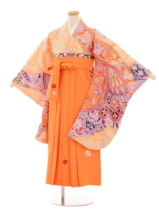 小学生卒業式袴レンタル(女の子)9506 薄オレンジ絞り×オレンジ袴