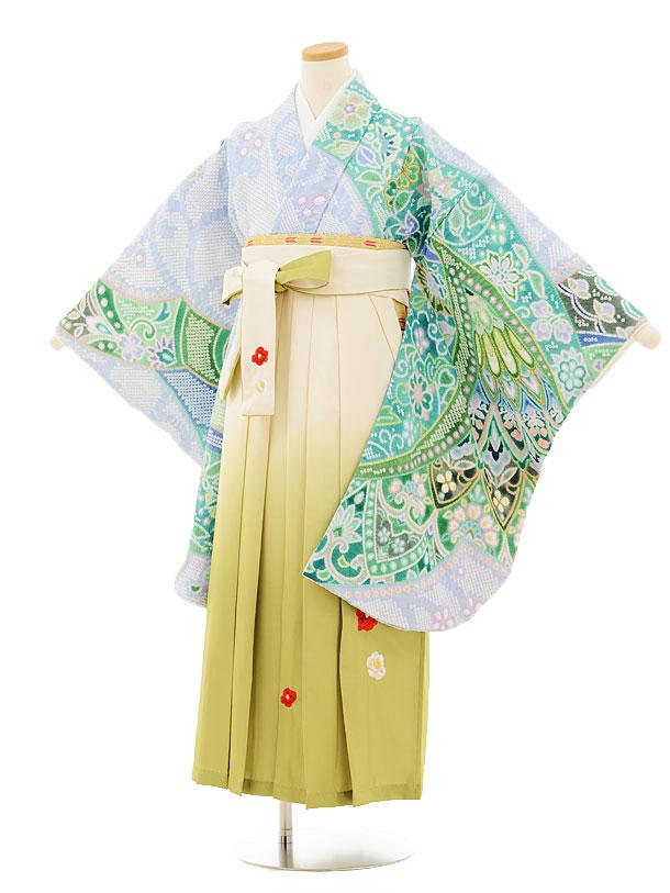 小学生卒業式袴レンタル(女の子)9507 水色絞り×クリームぼかし袴