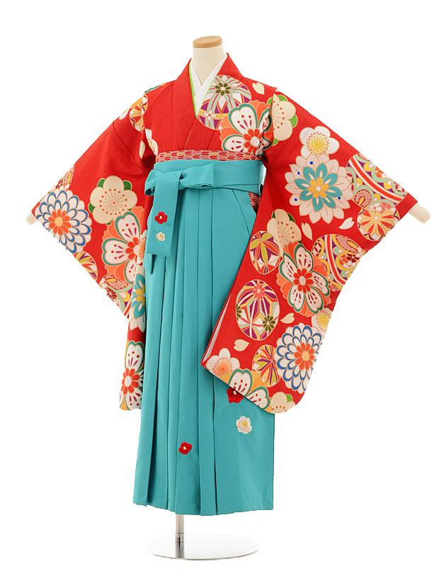 小学生卒業式袴レンタル(女の子)9510 赤茶古典×ターコイズ袴