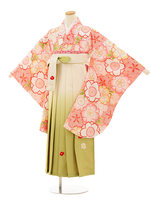 小学生卒業式袴レンタル(女の子)9511 ピンク桜×クリームぼかし袴