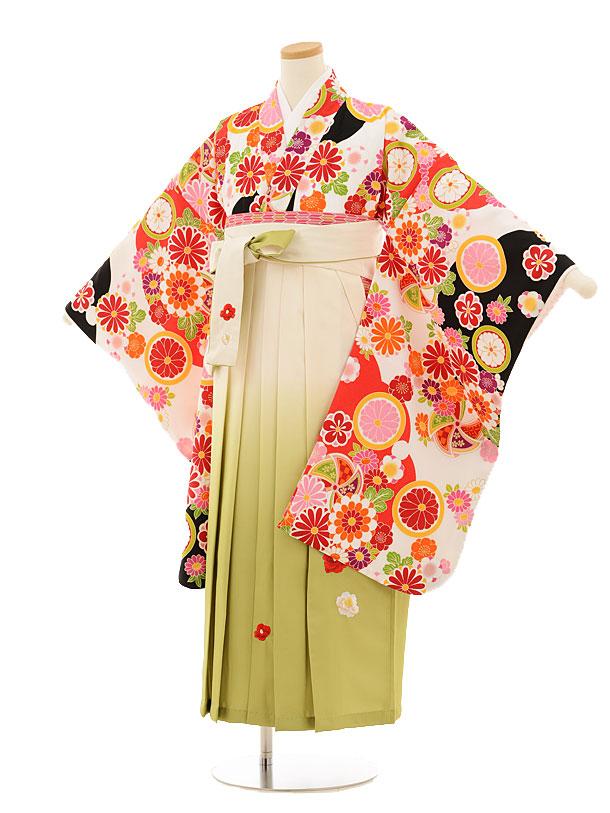 小学生卒業式袴レンタル(女の子)9514 白黒古典×クリームぼかし袴