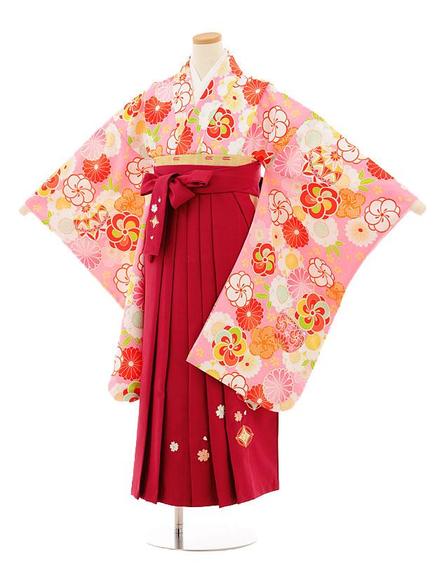 小学生卒業式袴レンタル(女の子)9515 ピンク古典×ローズ袴