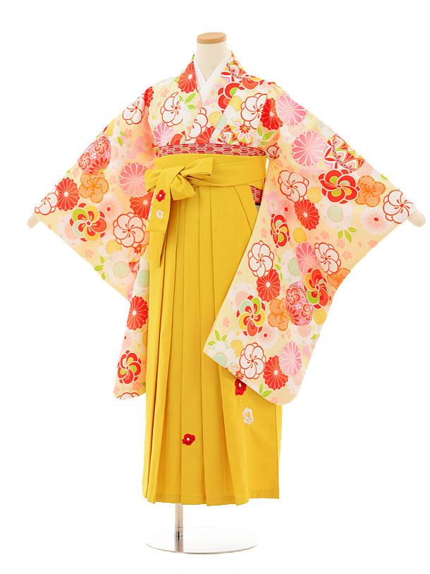 小学生卒業式袴レンタル(女の子)9516 薄イエロー古典×イエロー袴