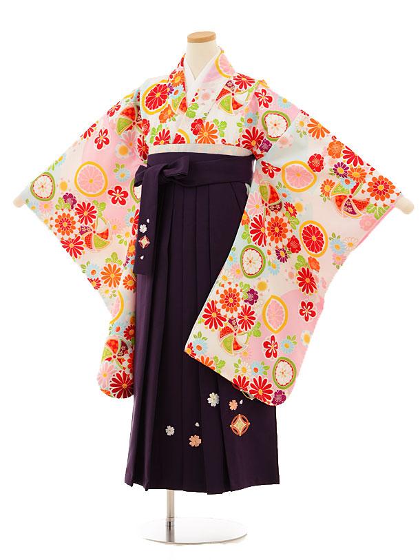小学生卒業式袴レンタル(女の子)9517 白古典×パープル袴