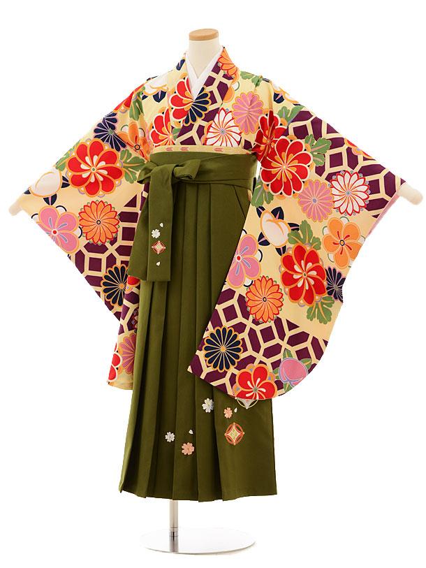 小学生卒業式袴レンタル(女の子)9520 紫地菊梅×抹茶色袴