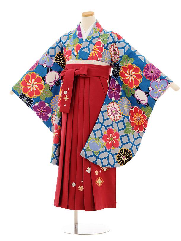 小学生卒業式袴レンタル(女の子)9521 ブルー地菊梅×ローズ袴