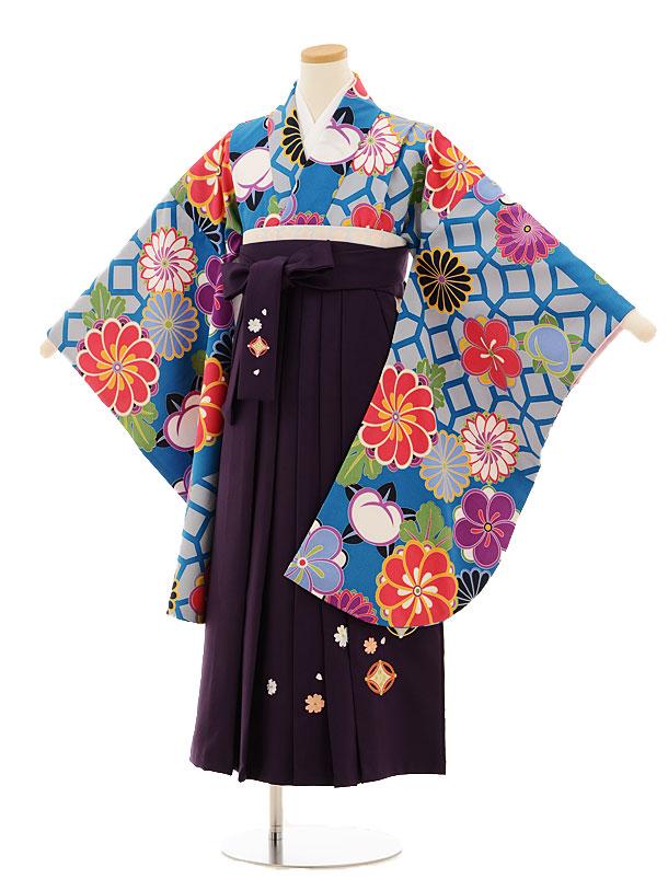 小学生卒業式袴レンタル(女の子)9522 ブルー地菊梅×パープル袴