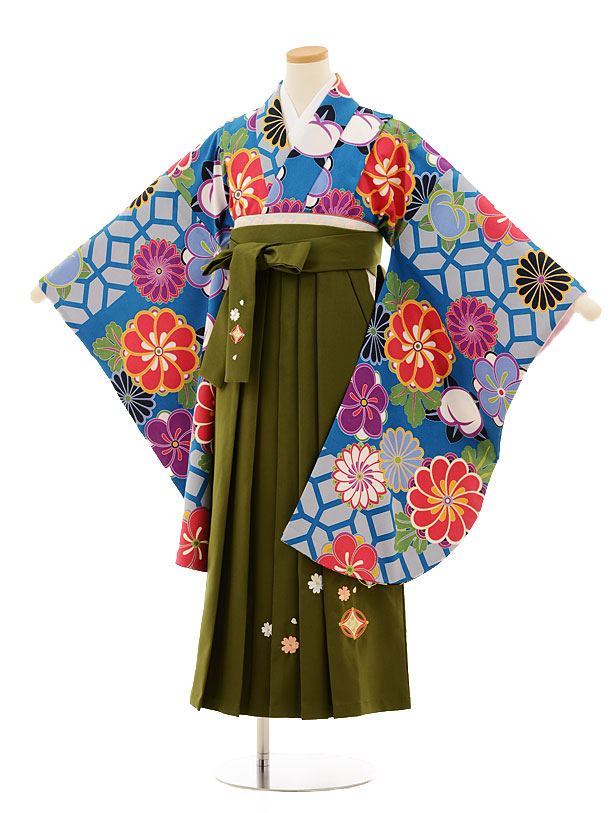 小学生卒業式袴レンタル(女の子)9523 ブルー地菊梅×抹茶色袴