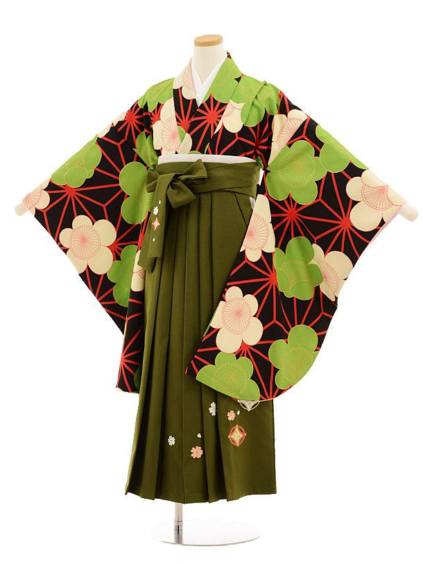 小学生卒業式袴レンタル(女の子)9529 黒地麻の葉梅