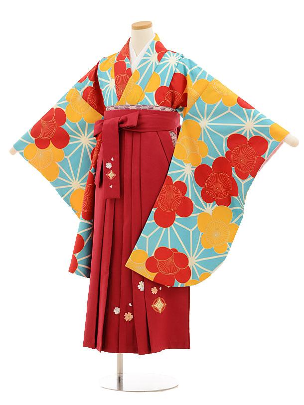 小学生卒業式袴レンタル(女の子)9530水色麻の葉梅×ローズ袴