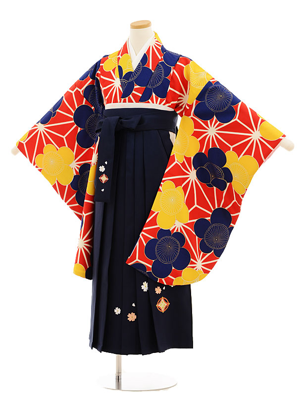 小学生卒業式袴レンタル(女の子)9531赤地麻の葉梅×紺袴