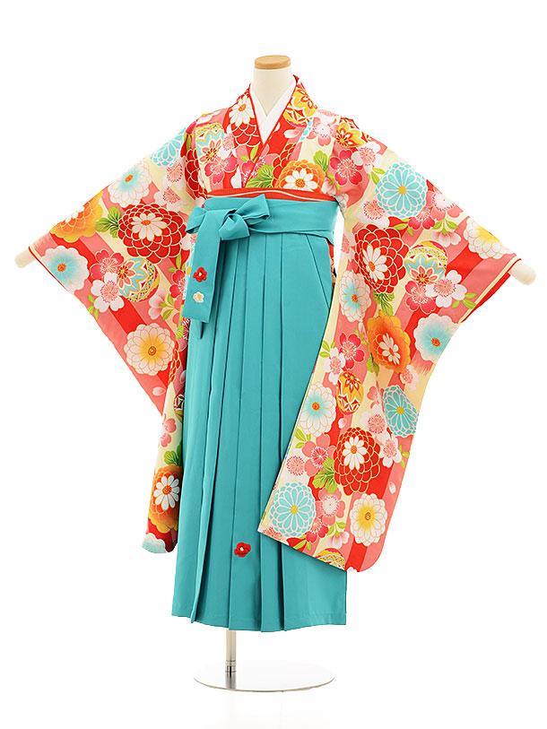 小学生卒業式袴レンタル(女の子)9534小町ピンククリーム縞×ターコイズ袴