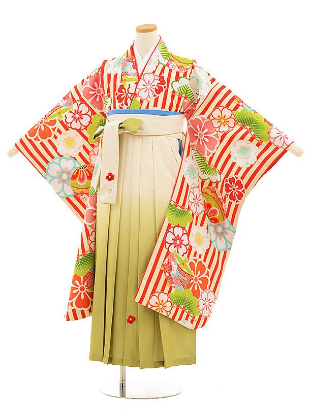 小学生卒業式袴レンタル(女の子)9536小町赤ストライプ花×クリーム袴