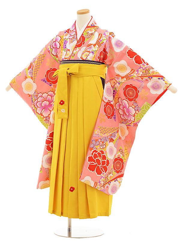 小学生卒業式袴レンタル(女の子)9539小町kidsピンクのしめ花×イエロー袴