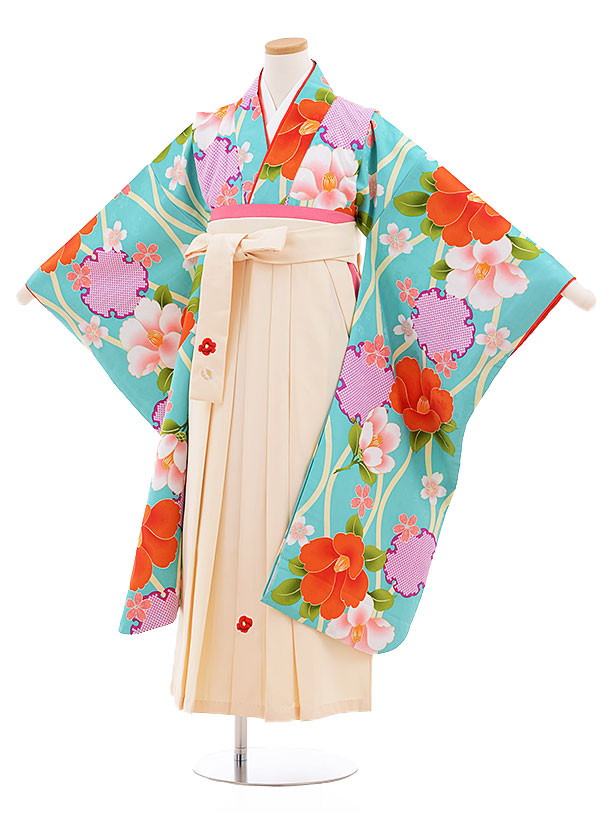 小学生卒業式袴レンタル(女の子)9545小町kidsターコイズ花×クリーム袴