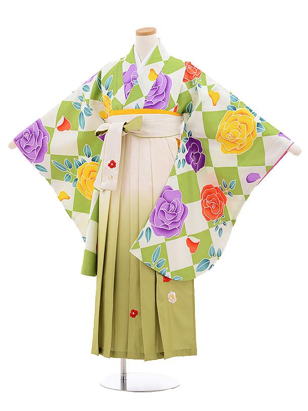 小学生卒業式袴レンタル(女の子)9546ひさかたグリーンバラ×クリーム袴