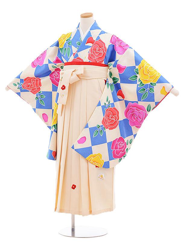 小学生卒業式袴レンタル(女の子)9548ひさかたろまん水色バラ×クリーム袴