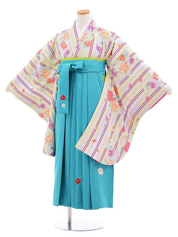 小学生卒業式袴レンタル(女の子)9553ひさかたすみれストライプターコイズ袴