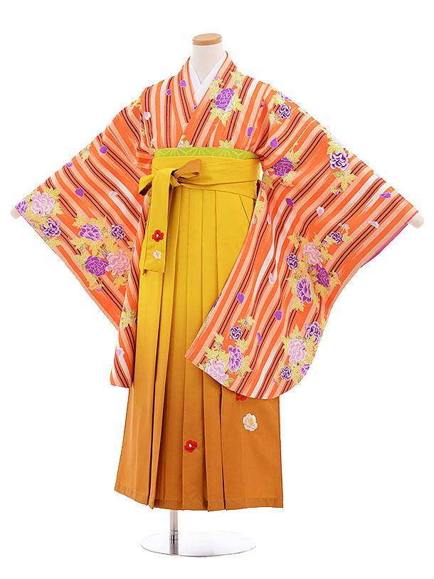 小学生卒業式袴レンタル(女の子)9554ひさかたオレンジストライプからし袴