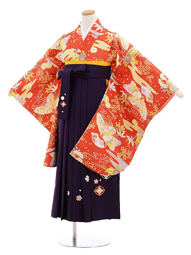 小学生卒業式袴レンタル(女の子)9556ひさかたろまん赤×パープル袴