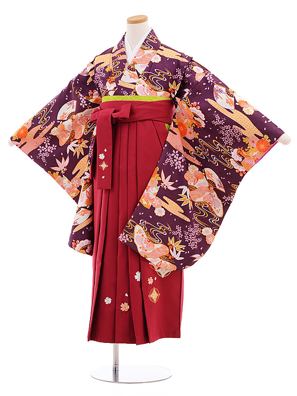 小学生卒業式袴レンタル(女の子)9557ひさかたろまん紫×ローズ袴