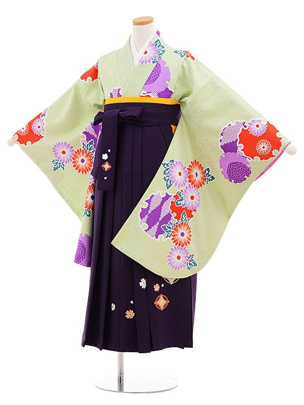 小学生卒業式袴レンタル(女の子)9558ひさかたグリーン雪輪×パープル袴