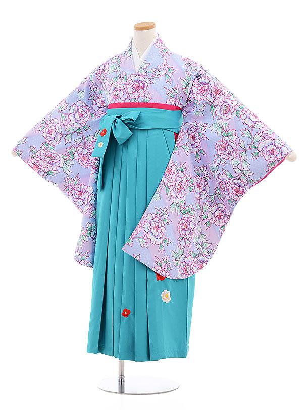 小学生卒業式袴レンタル(女の子)9562ひさかたすみれ色ぼたん×ターコイズ袴