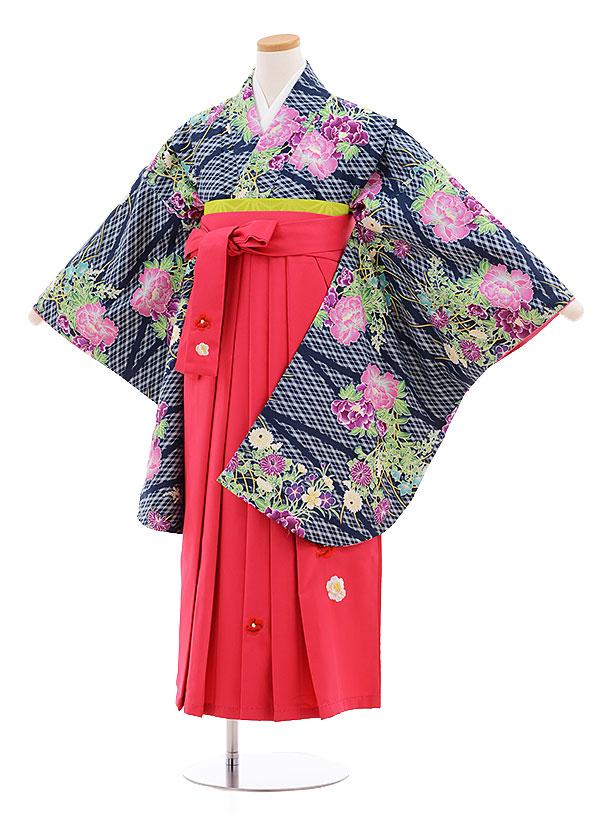 小学生卒業式袴レンタル(女の子)9564ひさかたろまん紺緑花×ピンク袴