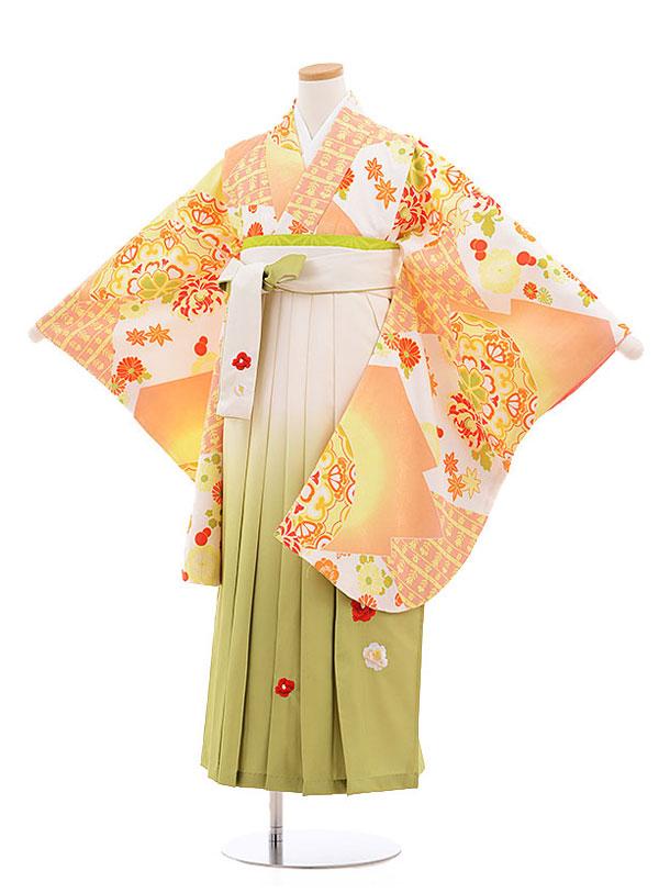 小学生卒業式袴レンタル(女の子)9568ひさかたろまんオレンジ×クリーム袴