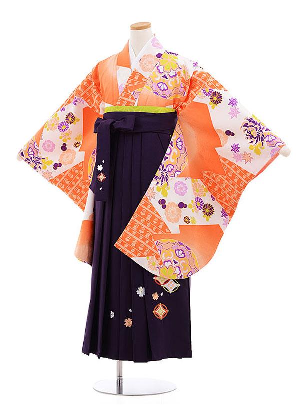 小学生卒業式袴レンタル(女の子)9569ひさかた濃オレンジ×パープル袴