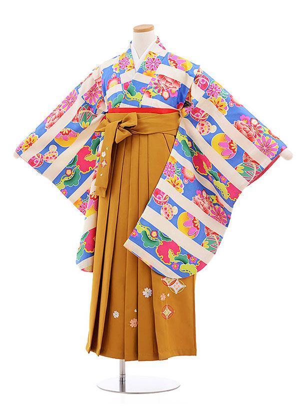 小学生卒業式袴レンタル(女の子)9570ひさかたろまんブルーまり花×金茶袴