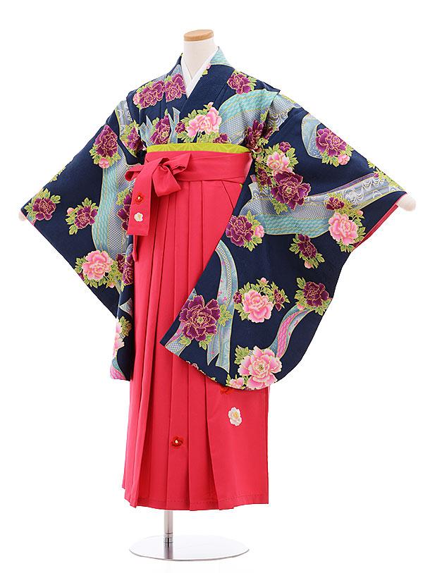 小学生卒業式袴レンタル(女の子)9575ひさかたろまん紺緑ぼたん×ピンク袴