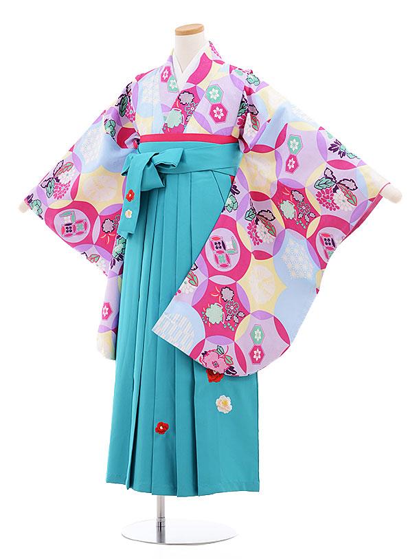 小学生卒業式袴レンタル(女の子)9576ひさかたろまんすみれ色×ターコイズ袴