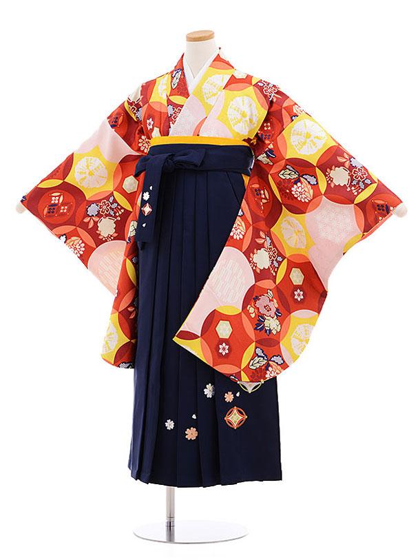 小学生卒業式袴レンタル(女の子)9578ひさかたろまんエンジ色×紺袴