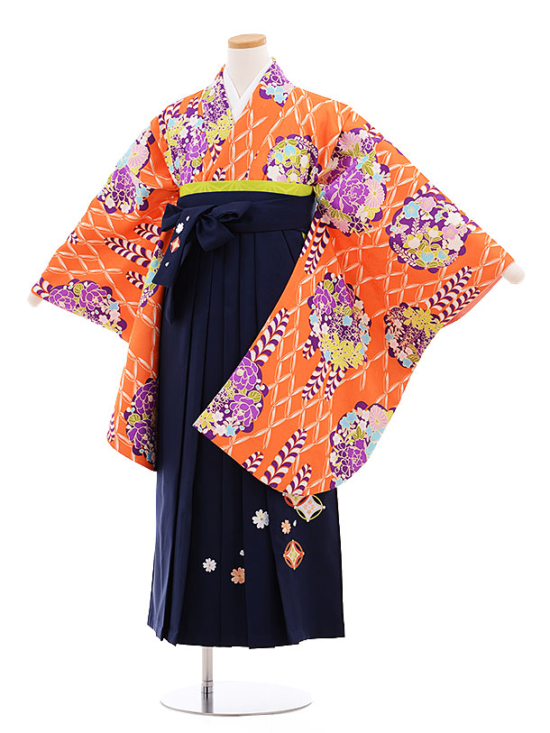 小学生卒業式袴レンタル(女の子)9579ひさかたろまんオレンジ×紺袴