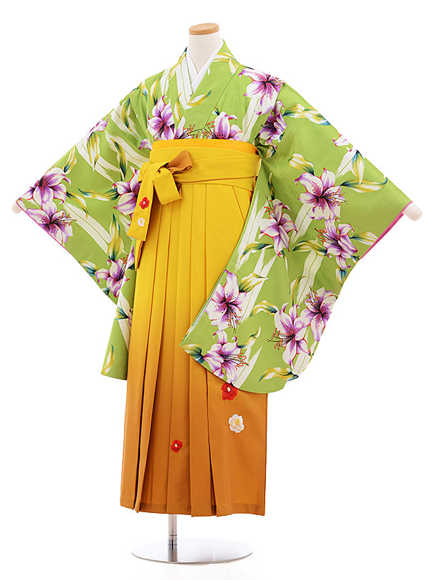 小学生卒業式袴レンタル(女の子)9582ひさかたろまん黄緑ゆり×からし色袴