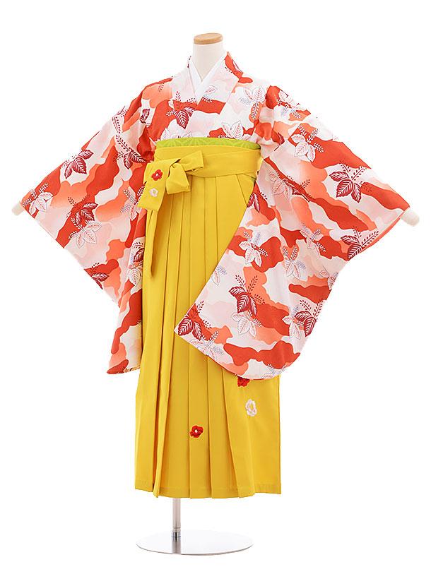 小学生卒業式袴レンタル(女の子)9590ひさかたろまんオレンジ桐×イエロー袴
