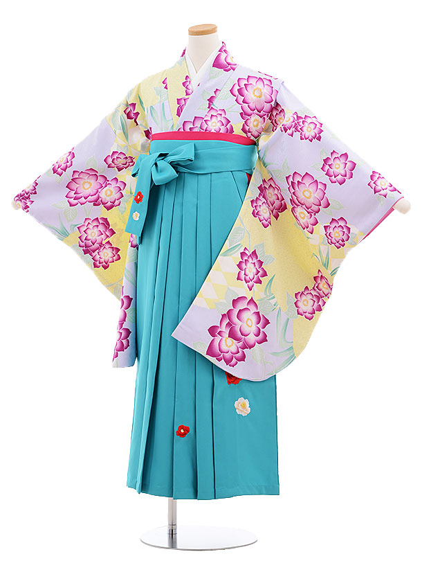 小学生卒業式袴レンタル(女の子)9591ひさかたろまんスミレ色花×ターコイズ袴