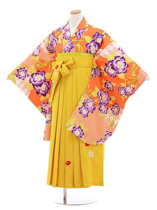 小学生卒業式袴レンタル(女の子)9592ひさかたろまんオレンジ花×イエロー袴