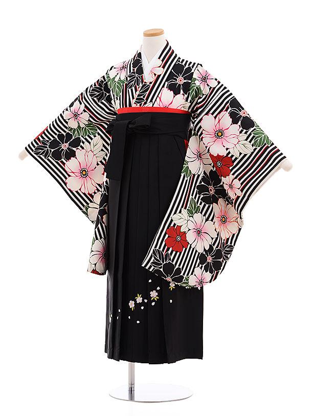 小学生卒業式袴レンタル(女の子)9594黒ストライプ花×黒袴