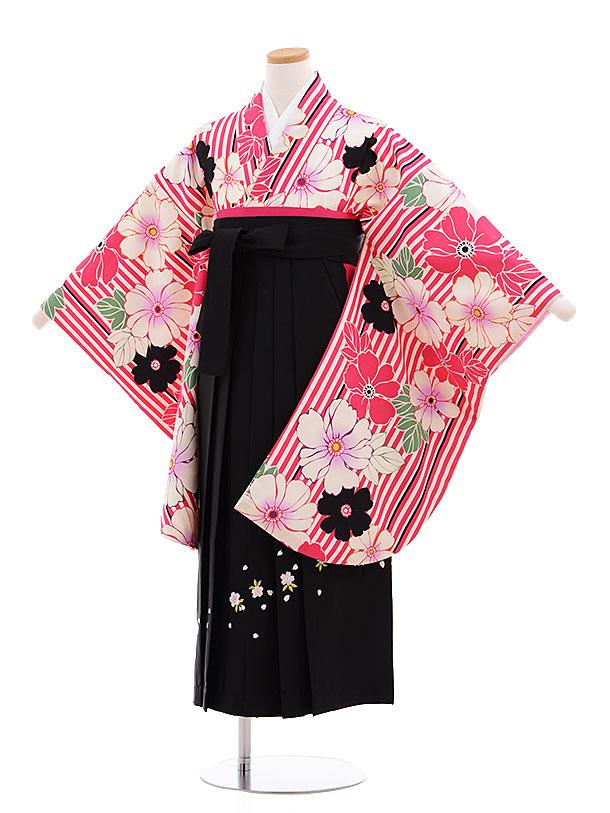 小学生卒業式袴レンタル(女の子)9596ピンクストライプ花×黒袴