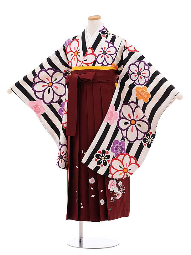 小学生卒業式袴レンタル(女の子)9598黒ストライプ梅×エンジ袴