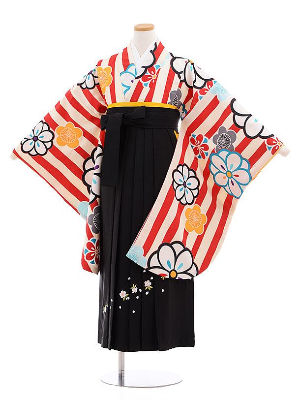 小学生卒業式袴レンタル(女の子)9599赤ストライプ梅×黒袴